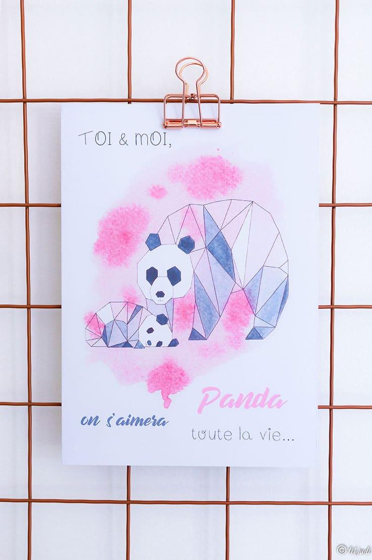 Carte fête des mères Pandas - Maman et bébé panda - Bonne fête Maman - illustration origami et aquarelle - à imprimer - tiDudi