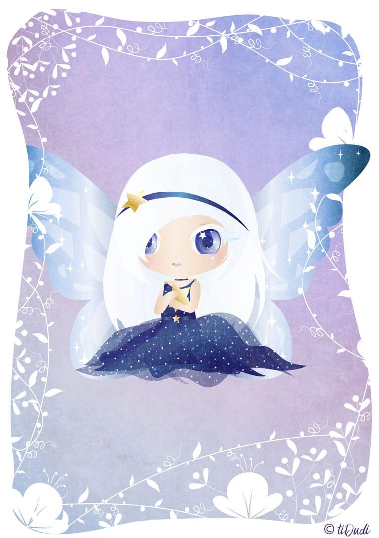 Illustration - Luna - Fée des étoiles - Escape game dans la forêt enchantée - tiDudi - Chibi