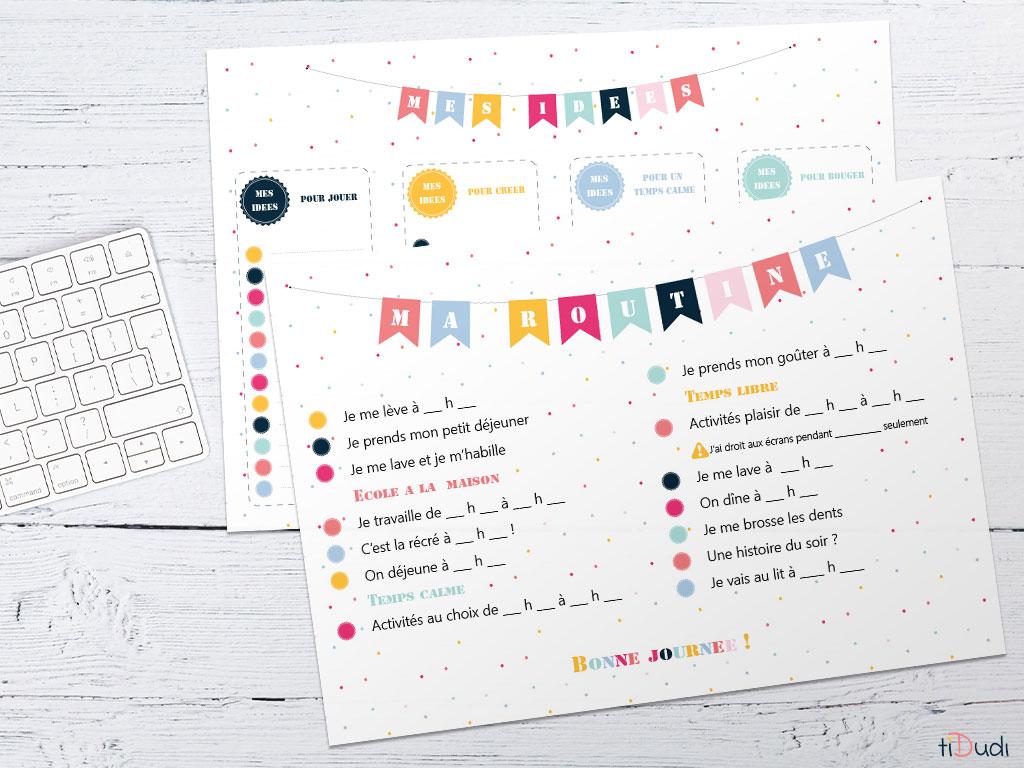 Routine du matin et du soir, et liste d'idées. Kit d'organisation pour enfant spécial école à la maison par tiDudi