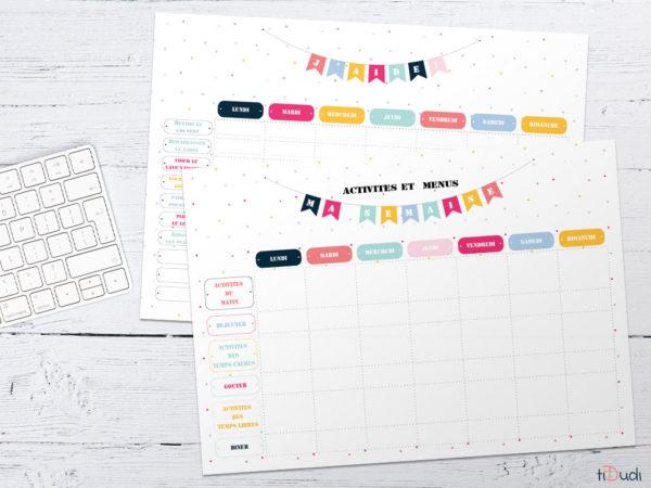 Planning hebdomadaire et répartition des tâches. Kit d'organisation pour enfant spécial école à la maison par tiDudi