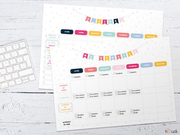 Planning hebdomadaire et répartition des tâches. Kit d'organisation pour enfant par tiDudi