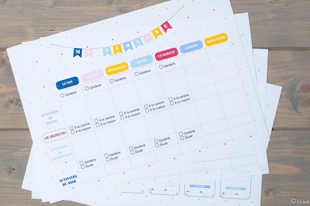 Planning hebdomadaire. Kit d'organisation pour enfant par tiDudi