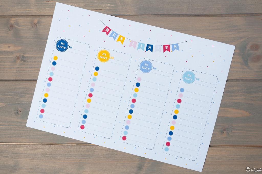 Listes. Kit d'organisation pour enfant par tiDudi