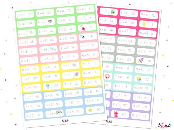 Jeu de domino pour apprendre les tables de multiplication