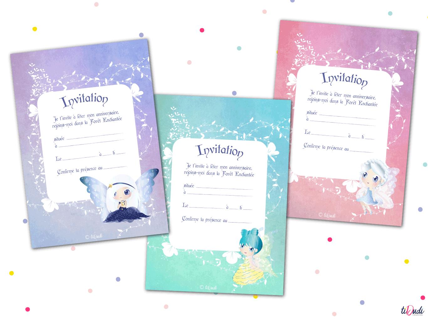 Invitations à imprimer sur le thème des fées de la Forêt Enchantée par tiDudi