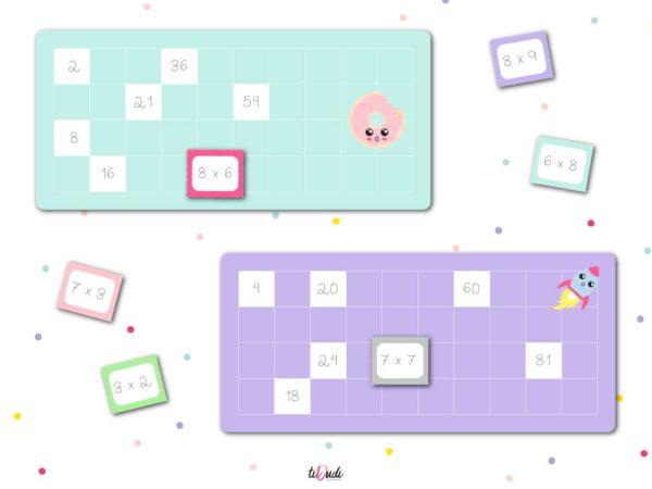 Loto des multiplications par tiDudi. Un jeu pour aider les enfants à apprendre les tables de multiplication.