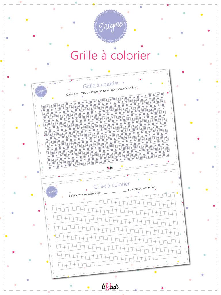 Énigme pour escape game pour enfants. Grille à colorier. tiDudi