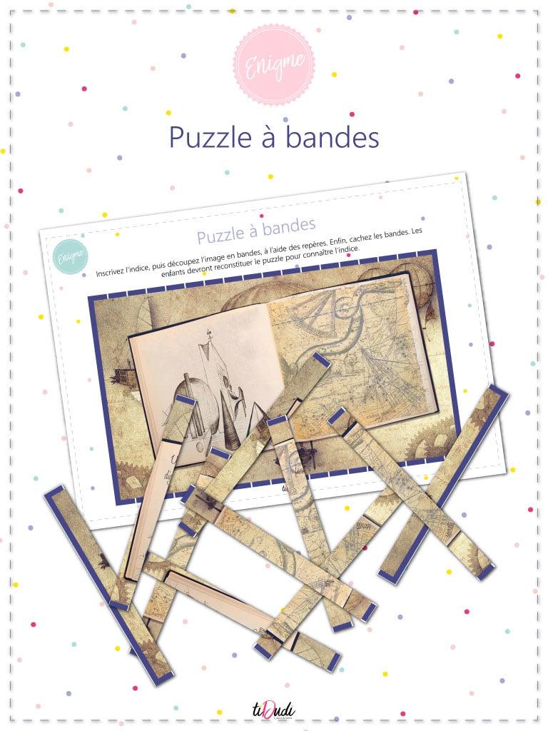 Puzzle à bandes. Idée d'énigme pour un escape game pour enfants. Kit à imprimer. tiDudi