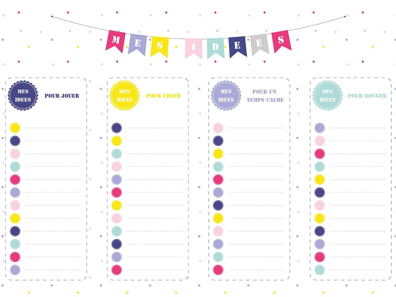 Listes d'idées d'activités - Kit d'organisation pour enfant - Télétravail et école à la maison - Spécial confinement - tiDudi