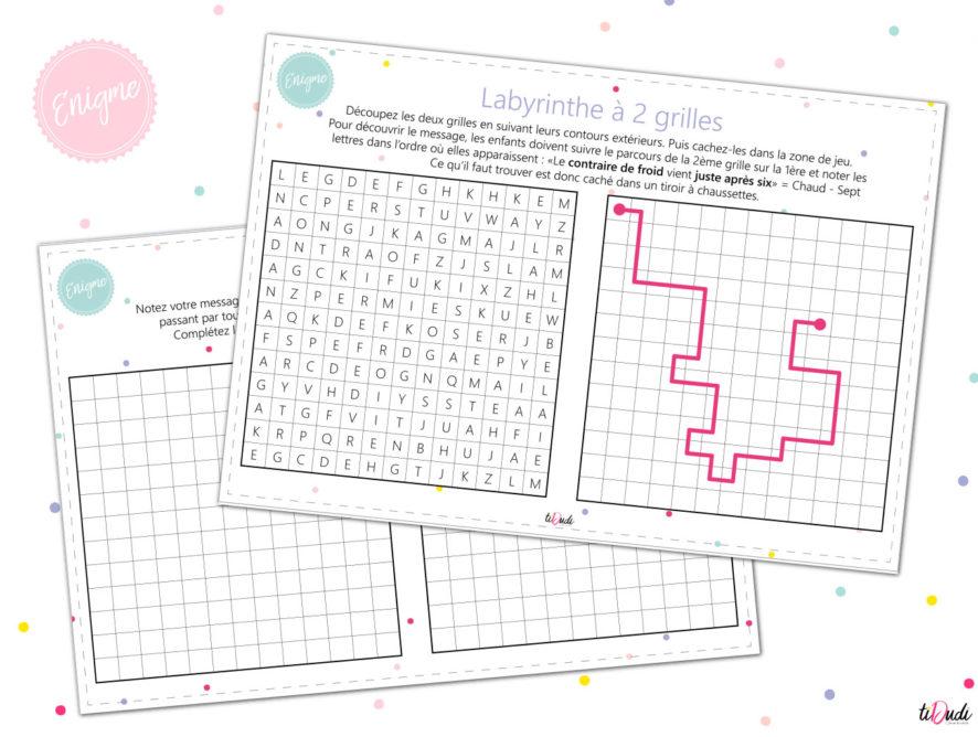 Énigme pour enfant : le labyrinthe à 2 grilles