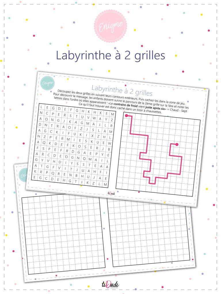 Une nouvelle idée d'énigme pour vos escape games pour enfants : le labyrinthe à 2 grilles. A télécharger sur tiDudi.fr