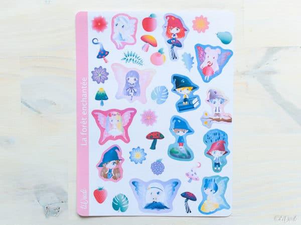 Stickers Forêt enchantée : fées, korrigans, champignons, plantes magiques, chibi. tiDudi