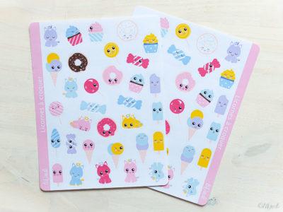 Stickers Kawaii : licornes, bonbons, glaces, donuts, cupcakes. tiDudi