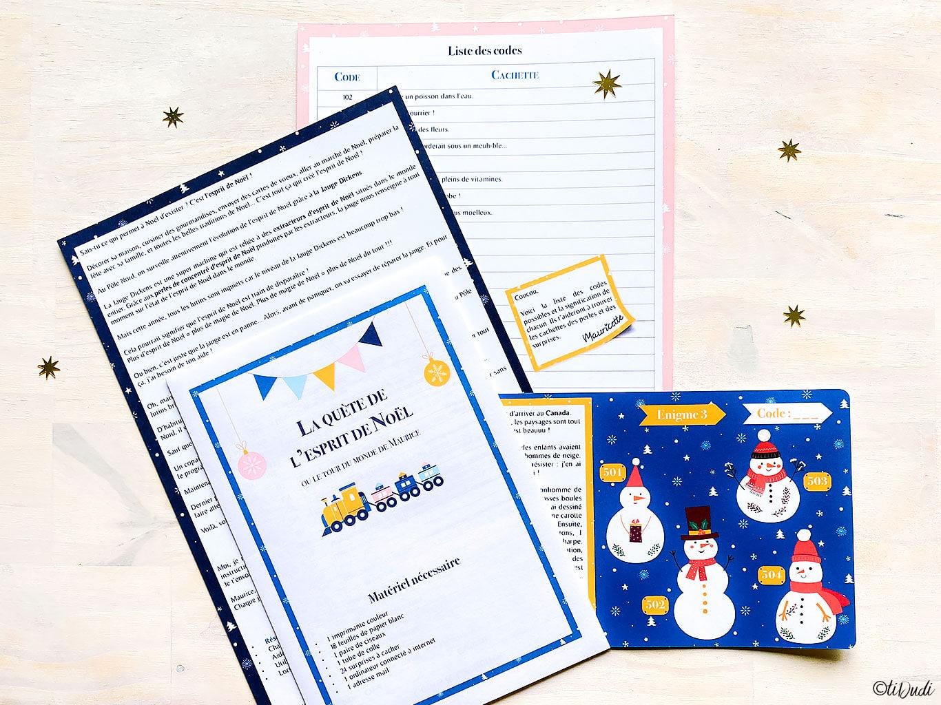 Calendrier de l'Avent escape game sur les traditions de Noël. 24 énigmes et 24 chasses aux trésors. Pour enfants de 7 à 10 ans. tiDudi