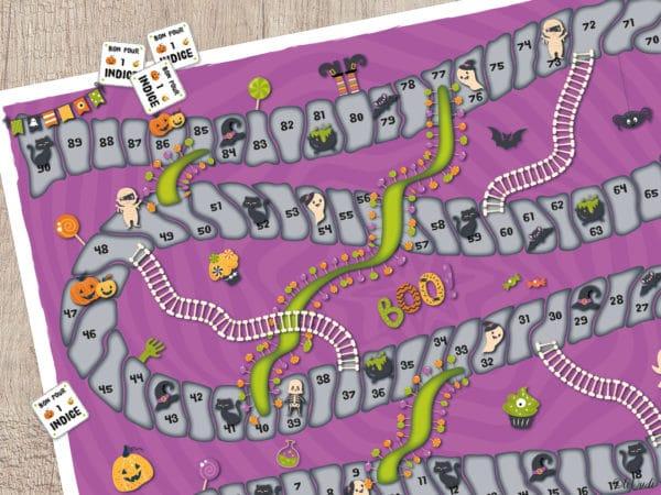 La Chasse aux Bonbons d'Halloween. Un jeu de l'oie et une chasse au trésor pour fêter Halloween à la maison. Un jeu tiDudi.