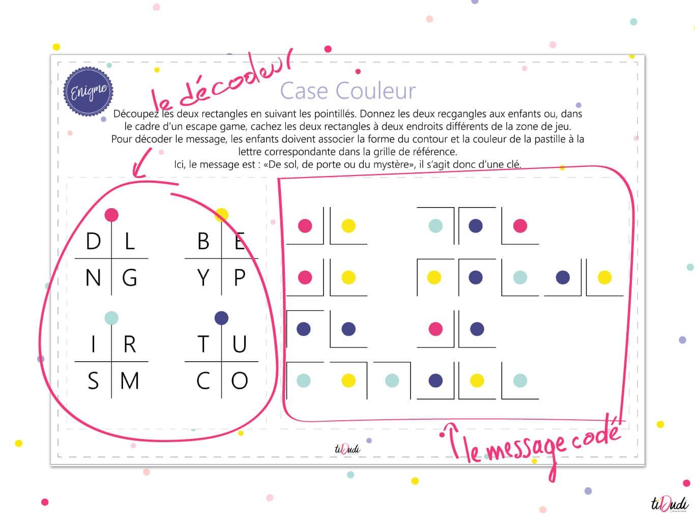 Décodeur et message codé, énigme Case Couleur. tiDudi